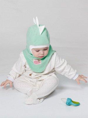"""Шлем флисовый """"Дракоша"""" ментол-белый, демисезонный"""