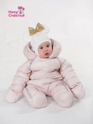 Шлем флисовый Микки молочный + бант, демисезонный