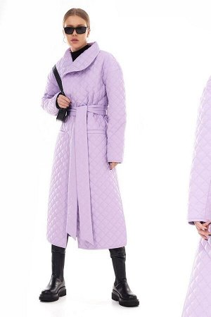 Стеганое пальто на запах с поясом в трендовом оттенке Purple Rose TOPTOP