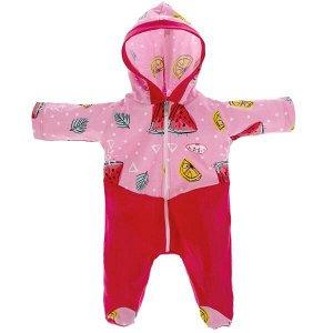 OTF-2101C-RU Одежда для кукол 40-42 см комбинезон с капюшоном фрукты КАРАПУЗ в кор.100шт