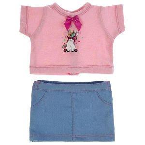 OTF-2103SS-RU Одежда для кукол 40-42 см юбка и футболка единорог КАРАПУЗ в шт.100шт