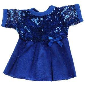 OTF-2103D-RU Одежда для кукол 40-42см синие платье с пайетками КАРАПУЗ в кор.100шт
