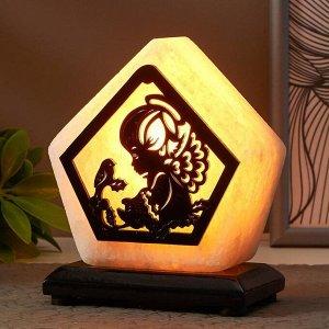 """Соляной светильник с диммером  """"Ангел малый"""" Е14 15Вт 1,3 кг белая соль 13х8х15 см"""