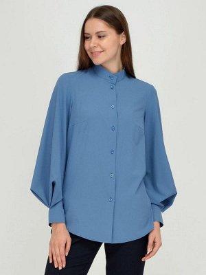 Блуза синяя с воротником-стойкой и объемными рукавами