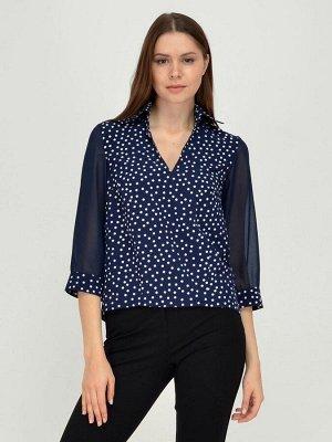 Блуза синяя с принтом и рукавами из фатина
