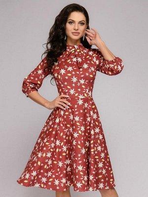 Платье вельветовое длины миди терракотовое с цветочным принтом