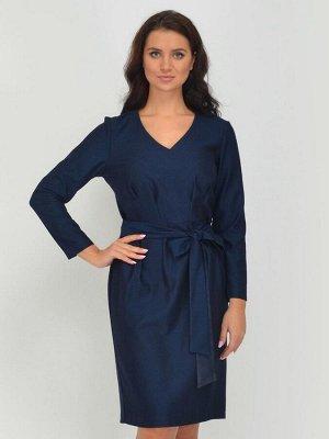 Платье синее с длинными рукавами и поясом