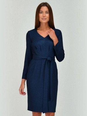 Платье синее с защипами на талии и поясом