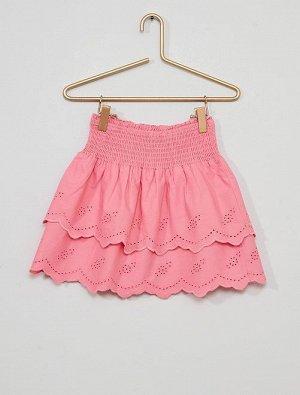 Короткая юбка с оборками и вышивками