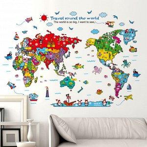 Наклейка многоразовая интерьерная «Путешествие по миру» 118*83 см (1581)