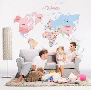 """Наклейка многоразовая """"Карта мира"""" 90*130 см (0979)"""