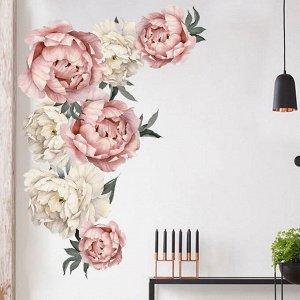 Наклейка многоразовая интерьерная «Розово-Белые Пионы 7» 45,5*66 см (1537)