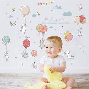 Наклейка многоразовая интерьерная «Зайки с воздушными шариками» 105*72 см (1474)