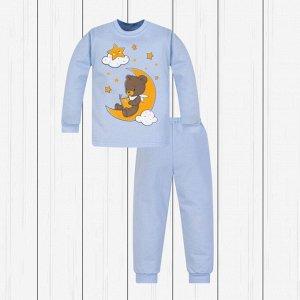 Пижама детская с принтом (футер) арт.802п-голубой_мишка_на_луне