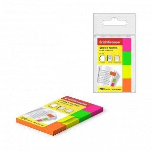Закладки с клеевым краем ErichKrause Neon, бумажные, 20 x 50 мм, 4 цвета по 50 листов