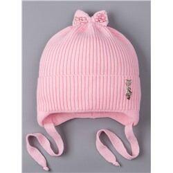 Шапка вязаная для девочки на завязках, на отвороте серебряная кошечка, сверху бант, светло-розовый