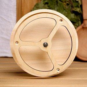 Вентиляционный клапан из липы, D=12,5см, основание дерево