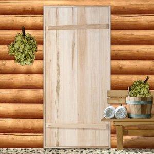 """Дверной блок для бани, 170?80см, из липы, на клиньях, массив, """"Добропаровъ"""""""