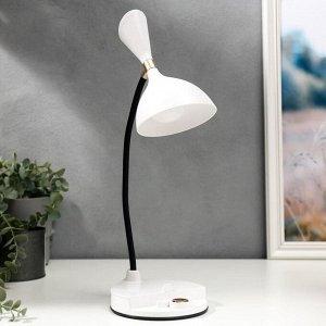 Лампа настольная сенсорная 1521/1WT LED 4Вт АКБ USB 3 режима белый 14,3х12х35 см
