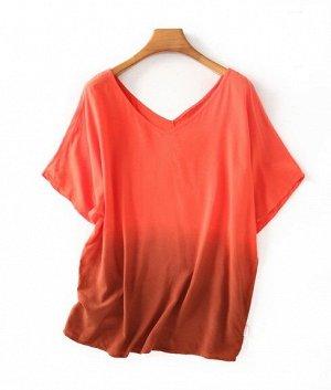 Женская футболка с V-образным вырезом, цвет оранжевый градиент