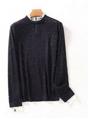 Женская кружевная блуза с длинным рукавом, цвет синий/белый
