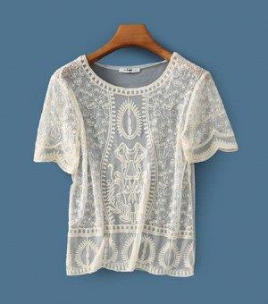 Женская прозрачная блуза с коротким рукавом, цвет бежевый