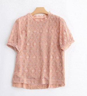 Женская блуза с коротким рукавом, цвет пепельная роза