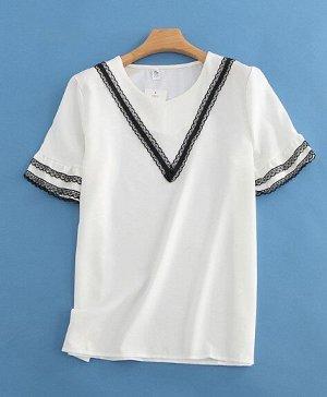 Женская блуза с коротким рукавом, декоративные ажурные вставки, цвет белый