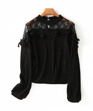 Женская трикотажная блуза с ажурными вставками на плечах, длинный рукав, застежка на спине