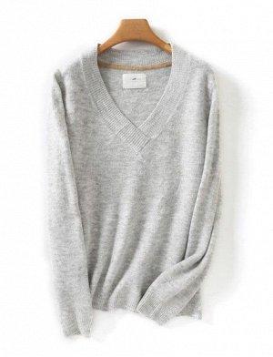 Женский свитер с V-образным вырезом, цвет серый
