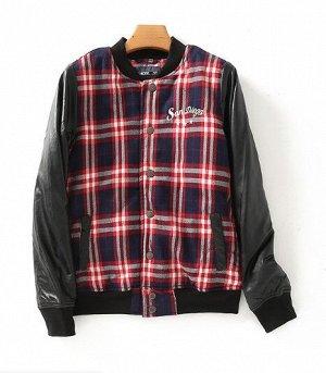 """Женская куртка на кнопках, рукава из эко-кожи, принт """"клетка"""", цвет красный/синий/черный"""
