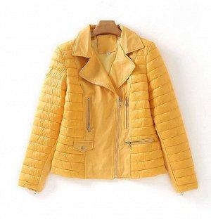 Женская куртка со вставками из эко-кожи, цвет желтый