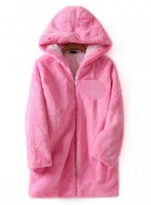 Женское меховое пальто с капюшоном, на замке, цвет розовый