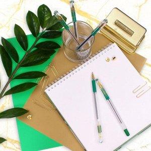 Ручка шариковая MunHwa MC Gold, стержень зеленый, узел 0.5 мм, грип