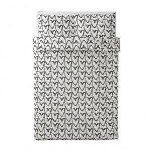 ЛИКТФИББЛА Пододеяльник и 2 наволочки, белый/серый200x200/50x70 см