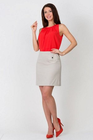 Юбка Состав ткани: Вискоза 60%, Полиэстер 37%, Спандекс 3% Длина: 45 См. Описание модели Короткая юбка приятного светло-бежевого цвета из ткани средней плотности с легкой эластичностью. Спереди украше