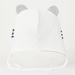 Шапочка Интерлок, 100% хлопок Шапочка двухслойная с декоратичными ушками и завязками. Декорирована принтом.