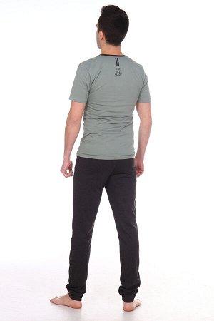 """Позитив Костюм """"Позитив"""". Трикотаж - Кулирка. Хлопок 100%. Размеры 44 - 58.Домашний мужской костюм состоит из футболки и брюк. В боковых швах брюк - карманы, низ на манжете, пояс - на эласти"""