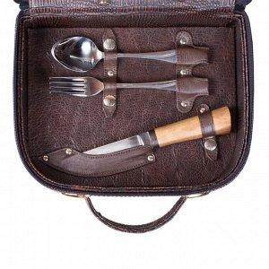 Набор дорожный в сумке-кейсе из искусственной кожи (4 персоны)
