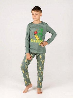Пижама Состав: Хлопок 100 %; Материал: Кулирка Пижама выполнена из мягкого хлопкового материала и состоит из футболки с длинным рукавом и брюк. Данная модель отличается свободным кроем, не сковывающим