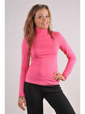 Водолазка женская кислотно-розовая утеплённая