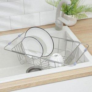 Сушилка для посуды раздвижная на раковину Доляна, 35-45,7?25?11 см