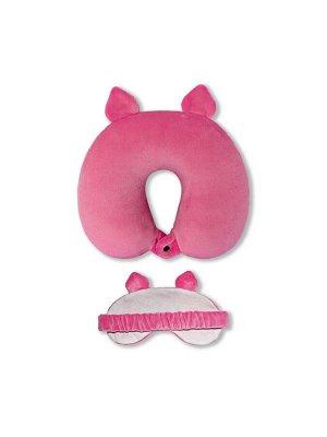 Подушка для шеи с маской для сна.Розовый