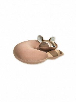 """Подушка для шеи турист с маской для сна """"Енот"""" , коричневый"""