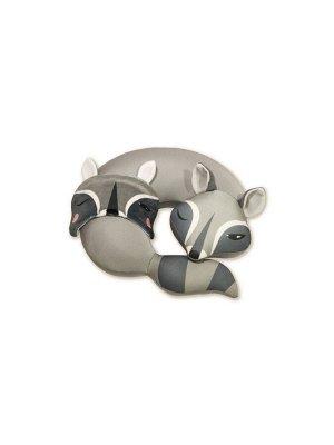 """Подушка для шеи турист с маской для сна """"Енот"""", темно-серый"""