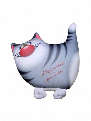 """Антистрессовая подушка-игрушка """"Звери Улыбки"""" маленькие (кот серый)"""
