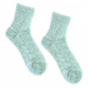 Носки в рубчик, без резинки, с фигурным краем, с люрексом