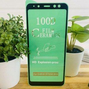 """Керамическое """"стекло"""" (пленка) 100D для SAMSUNG A5 2018 / A8 2018 FULL GLUE (на полный экран, полный клей, салфетки в комплекте)"""