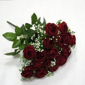 Букет бордовых роз из бархата