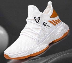 Мужские/женские кроссовки с силиконовыми вставками, цвет белый/оранжевый